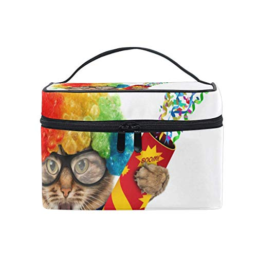 Funny Cat Playing Cosmetic Bag Toiletry Travel Makeup Case Handle Pouch Multi-Function Organizer for Women