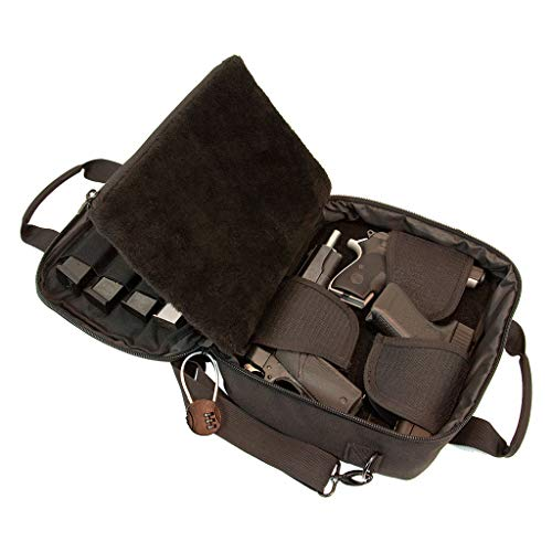 Pistol Case Range Bag for Handguns by FirstChoice - 2 to 4 Gun Padded Tactical Handgun Shooting Soft Case, Lockable Zippers w/Padlock, 3 Mini-Holsters, 8 Mag Slots, 4 Pockets, Range Mat (Black)