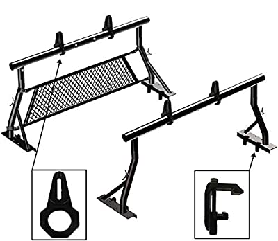 TMS 800LB Universal Low Profile Non-Drilling Pickup Truck Sport Bar Ladder Rack 2 Bars with Mounting Clamps Load Stops Window Protector (Patent Pending)(24'')