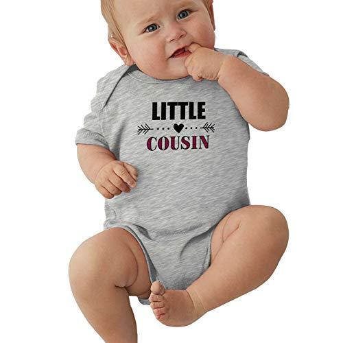 Child Short Sleeve Little Cousin with Heart Arrow Boys Girl Bodusuit Outdoor Baby Jersey Bodysuit