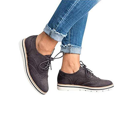XLBHSH Damen Schnürschuhe Oxford Schuhe Feminine Brogues Flache Freizeit Vintage Schnürer Schuhe 35-43,02,43