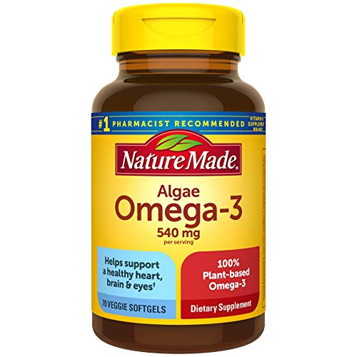 Nature Made Algae 540 mg Omega 3 Supplement, 70 Vegetarian Softgels, A Sustainable, Plant-Based Omega 3 for Healthy Heart, Brain, and Eye Support