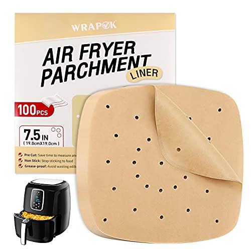 WRAPOK Papel de pergamino para freidora de aire, hoja perforada sin blanquear, revestimiento antiadherente para carnes, patatas fritas o galletas, 100 unidades
