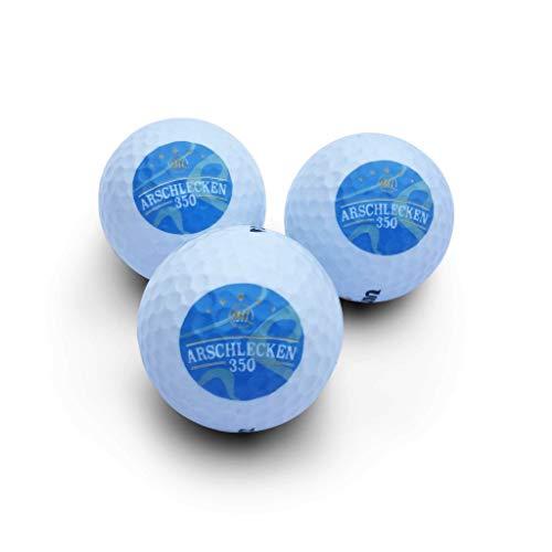 Dreierpack Golfbälle Arschlecken 350, weiß/Royalblau, in Klarsichtbox