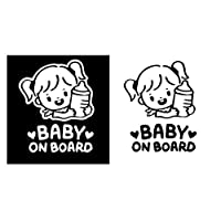 MIYU 哺乳瓶カーウィンドウステッカーデカールカーボンファイバービニールでステッカー車の漫画の赤ん坊のオンボード・リトル・ガール (Color Name : Black)