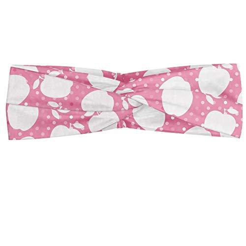 ABAKUHAUS Pink Dots Polka Bandeau, Silhouettes de pommes avec des cercles Hazy Composées sur Retour, Serre-tête Féminin Élastique et Doux pour Sport e