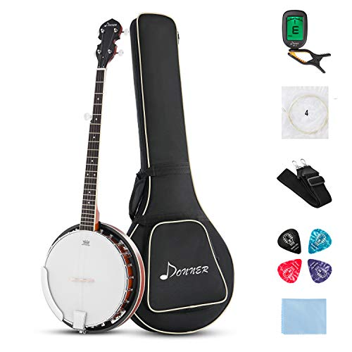 Donner 5-String Banjo DBJ-200 with 24 Bracket Banjo and Geared 5th Tuner, Banjo Guitar Beginner Kit with Strap, Bag, Tuner, Picks, Strings, Cloth