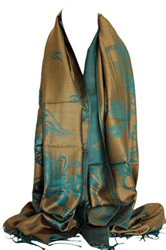 Qualität zwei doppelseitigen Druck selbst geprägte Pashmina Feel Wrap Schal Stola Schal (Mokka-Braun & Seegrün)