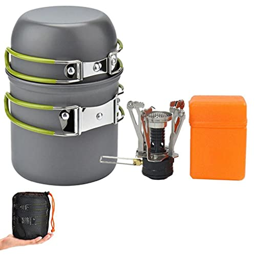 Uayasily Camping Cookware-cooking Set Mess Kit 2 Lightweight Pot Pan 2 Cups and Mini Stove Fork Knife Spoon Kits for 2 People Backpacking Outdoor Trekking Hiking and Picnic