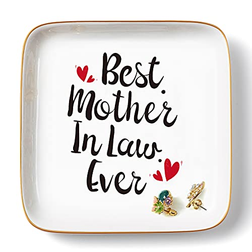 PUDDING CABIN Mother In Law Gifts from Daughter In Law - Mother of The Groom Gift from Bride - Birthday, Mother's Day, Christmas Gift for Mother In Law - Ceramic Ring Trinket Dish Jewelry Plate