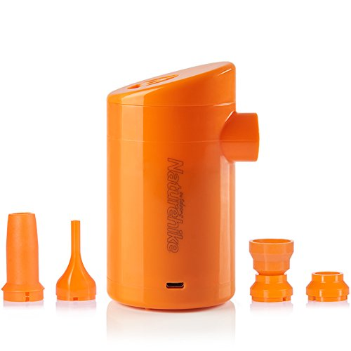 Tentock Bomba de Camping Eléctrica Recargable con 4 Boquillas para Colchón/Almohada de Aire/Cama de Aire/Juguete de Piscina, Ultraligero 3-1 Banco de Energía/Iluminación/Inflador(Naranja)