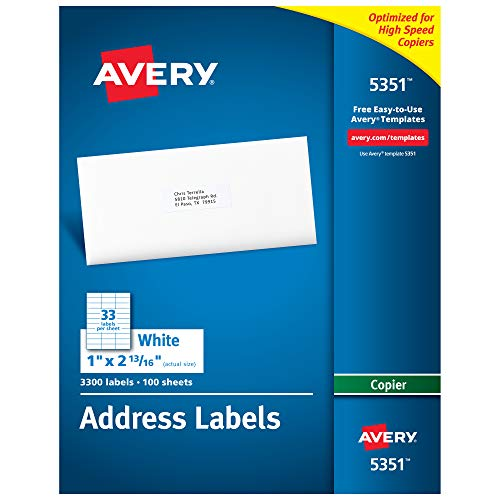 """AVERY Address Labels for Copiers, 1"""""""" x 2-13/16"""""""", 3,300 White Labels (5351)"""""""