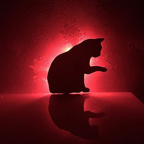 LED Cute Licking Hair Cat 7 Color Change Shadow Projection Niños Dormitorio Slee Corridor Pasillo Lámparas de Pared TS
