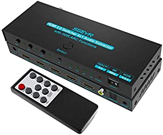 SGEYR HDMI Switcher 4x1 with Audio 4K@60Hz HDMI Switch Remote,4 in 1 Out HDMI Selector Switch Audio Extractor (SPDIF + Coaxial + 3.5mm Stereo), Supports ARC, HDCP 2.2, 3D, Compatible for DVD Player