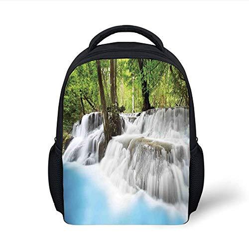 Kids School Backpack Waterfall,Mystic Erawan Waterfall in Forest Foggy Over Pool Tropical Jungle,Light Blue Green White Plain Bookbag Travel Daypack