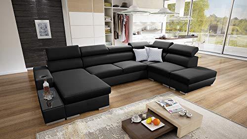 all4all Picanto - Sofá esquinero con función de cama (tamaño XXL, piel sintética), color gris, negro, azul, morado y forma de U