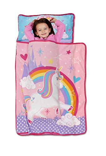Funhouse Unicorn Nap Mat Set - Includes Pillow and Fleece Blanket – Great for Boys and Girls Napping at Daycare, Preschool, or Kindergarten - Fits Sleeping Toddlers and Young Children - Kid Friendly