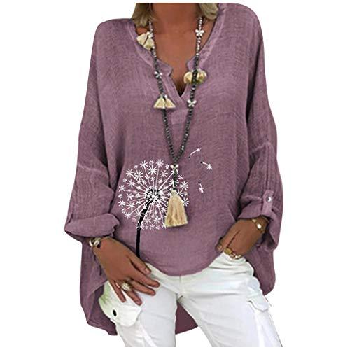 YEBIRAL Leinen Bluse Damen V-Ausschnitt Langarm Oberteil T-Shirt Lose Beiläufig Tops Tunika Hemd Drucken Große Größen Leinenhemd