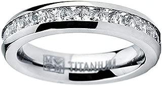3MM High Polish Princess Cut Ladies Eternity Titanium Ring Wedding Band with Cubic Zirconia CZ Size 4 to 9