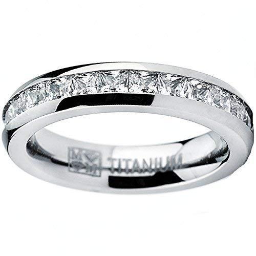 Metal Masters Co. 3MM High Polish Princess Cut Ladies Eternity Titanium Ring Wedding Band with Cubic Zirconia CZ Size 8