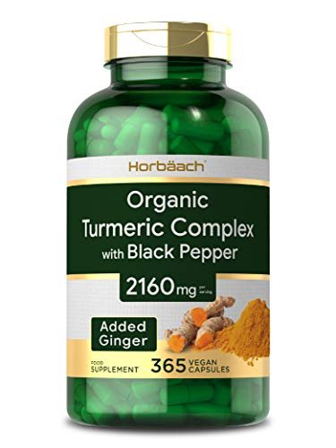 Organic Turmeric Curcumin 2160mg | 365 Capsules | High Strength Complex + Black Pepper & Ginger | Non-GMO, Gluten Free & Vegetarian Supplement