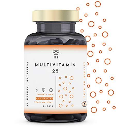 VITAMINA C y D - ALTA DOSIS. 200{d438a02536c5d5fe528a9b3502e815755af43c6aeadfc2c7e3723e93f8d82dc0} del Valor Diario Recomendado. MULTIVITAMINAS Vegano con 25 Vitaminas y Minerales Zinc Magnesio Vitaminas E B6 B12 B1 - Mujer y Hombre 90 Cápsulas N2 Natural Nutrition