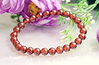 JEWEL BEADS Beautiful jewelry AAA++ Quality Natural SMooth Round Beads Garnet, Orange Red Garnet Carbuncle, Stretchy Bracelet Wedding gift Jewelry 6.5mm Code- AU-9418