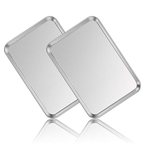 Stainless Steel Baking Sheet Set of 2, Deedro Cookie Sheet Metal Baking Pan Oven Tray, Non Toxic & Heavy Duty, Rust Free & Mirror Finish, Easy Clean & Dishwasher Safe, 17.3 x 12.3 x 1 Inch