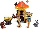 Gartendeko Feengarten-Zubehör-Set Miniatur-Feen Eichhörnchen Pilze Hund Kaninchen Kunstharz Basteln Jungen Mädchen Spielzeug Gartendekoration Miniatur Blumen Garten Outdoor Deko Mini