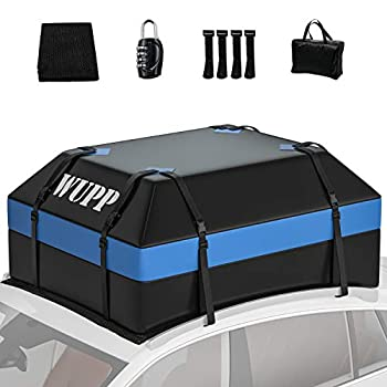 WUPP Car Rooftop Cargo Carrier Bag 15 Cubic Feet Waterproof Roof Rack Bag with Anti-Slip Mat Heavy Duty Soft-Shell Roof Luggage Travel Storage Bag for All Cars with/Without Rack