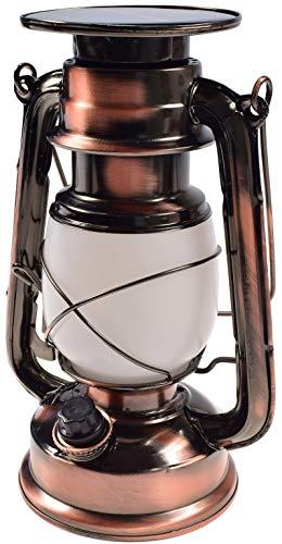 Lanterna solare a LED da campeggio con staffa a batteria I Retro Design I dimmerabile 23,5 cm I metallo cassa I bianco caldo
