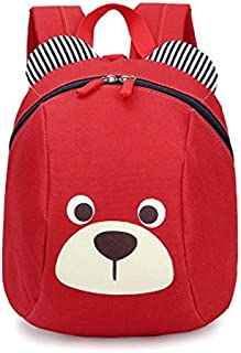 Age 1-3 Toddler Backpack Kids Baby Anti-lost Bag Cute Animal Children Kindergarten Bear Schoolbag (Red)