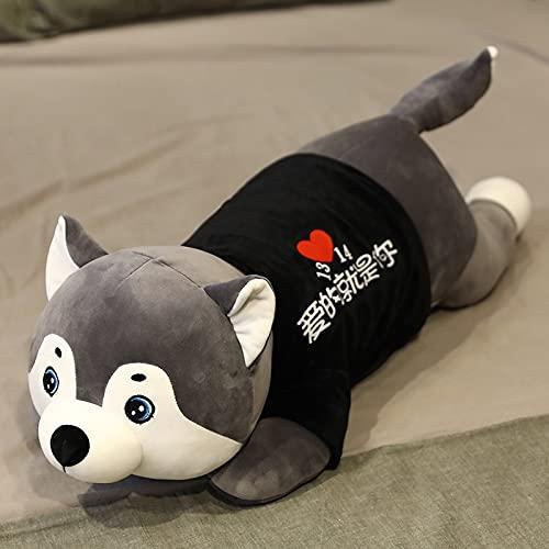 KangH Lindo Perro de Peluche de Juguete de Peluche Horizontal Husky con Ropa para niños Regalo de cumpleaños Kawaii para niños 80CM D