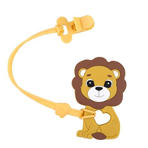 let's make Baby Greiflinge, Schnuller Clip Halter mit Silikon Beißring Anhänger Löwe für Neugeborene Gefrierschrank Safe Neutral Shower Geschenk