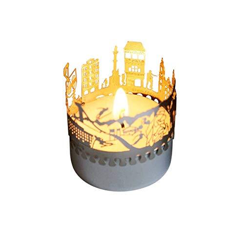 13gramm Innsbruck-Skyline Windlicht Schattenspiel Souvenir, 3D Edelstahl Aufsatz für Kerze inkl. Karte