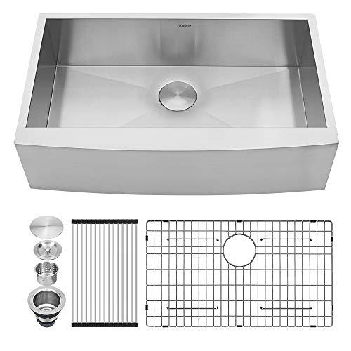 Kichae 33 Inch Farmhouse Sink Apron Front Deep Single Bowl 18 Gauge Stainless Steel Kitchen Farm Sink