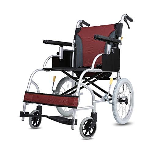 Bai Su Silla de ruedas, aleación de aluminio Respaldo desmontable portátil plegable for adultos Pasamanos cortos en forma de U con pedal de freno de mano se puede ajustar, ancho del asiento 44 cm sumi