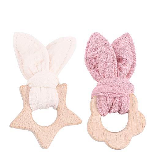 Mamimami Home 2pc Baby Nursing Bunny Ear Beißring Holz Animal Food Grade Bio Rassel Beruhigen Baby Kinderkrankheiten Spielzeug