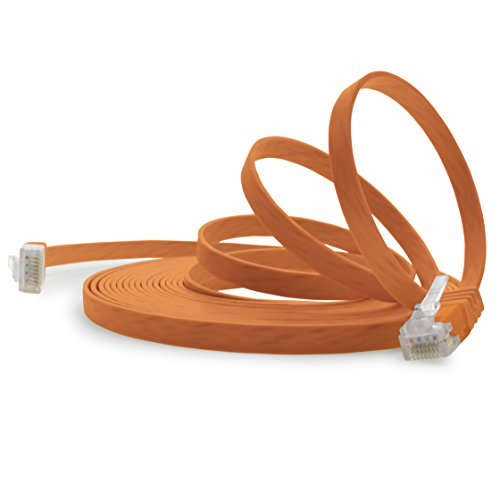 0,25 m - oranje - 1 stuk - Cat.6 platte netwerkkabel Cat6 platte kabel ultra platte Cat.6 patchkabel 1000 Mbit s Gigabit Lan RJ45 platte slanke micro
