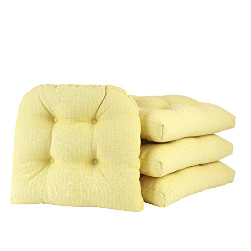 Klear Vu Omega Non-Slip Overstuffed Dining Chair Pad, 4 Pack, Yellow