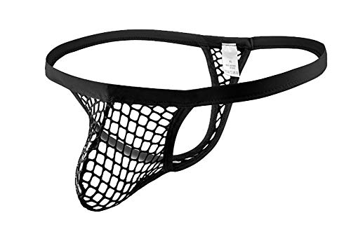 Naturemore Men's Thong Sexy Mesh See Through Thongs Briefs Underwear Black, X-Large