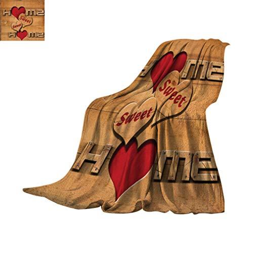 Sweet Home personalisierte Überwurfdecken, Wörter mit Herzformen auf Holzbohlen, Blockhütte, Landhaus, weiche, leichte Decken für Schlafsofa, 152,4 x 99,1 cm, hellbraun, rot, schwarz