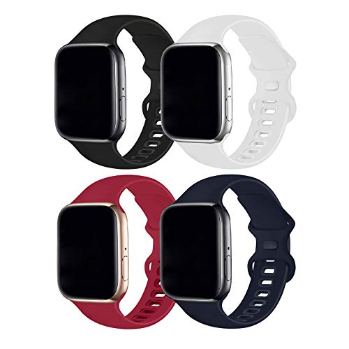 Hotflow 4 Pack Compatible with Apple Watch Band 38mm 40mm,Sport Silicone Soft Replacement Band Compatible for Apple Watch Series SE/6/5/4/3/2/1 [S/M Size - Rosered/MidnightBlue/Black/White]