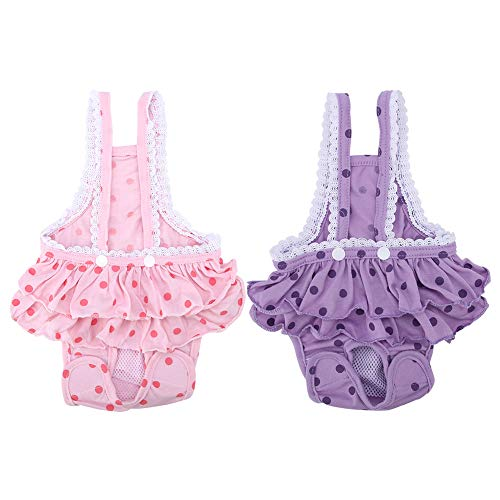 Zyyini Pet Pants, katoen-ademende Sweet Dots Menstrual Sanitary Suspender Pants voor hondenwelpen