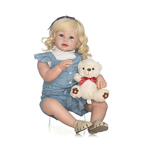 """NPK Realistic Reborn Toddler Dolls Girl Silicone Toddlers Princess Doll 28"""" Babies Kids Toys with Blonde Hair Handmade Weighted Body Ann Snuggle for Children"""