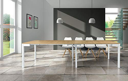 Milani Home s.r.l.s. Tavolo da Pranzo Moderno di Design A Consolle Cm 90 X 50/100/150/200/250/300 Struttura Bianca Piano Naturale per Sala da Pranzo