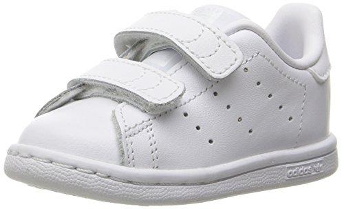 adidas Originals Kids' Stan Smith Cloudfoam Sneaker, Footwear White/Footwear White/Footwear White, 4
