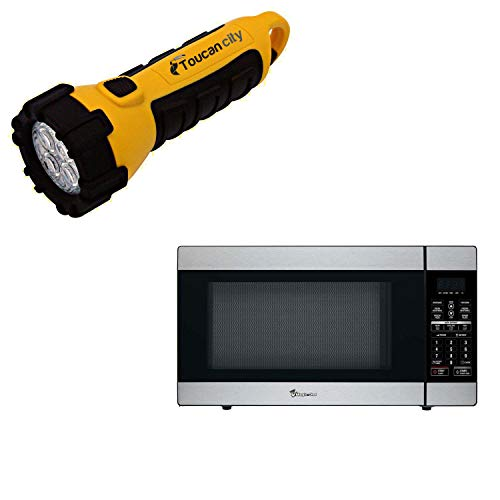 Toucan City LED Flashlight and Magic Chef 1.8 cu. ft. Countertop Microwave in Stainless Steel MCD1811ST