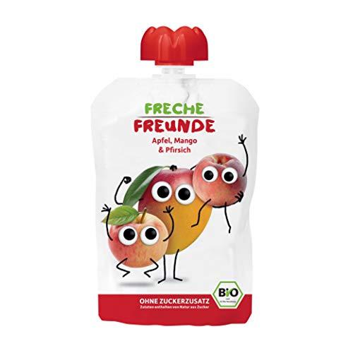 FRECHE FREUNDE Bio Quetschie 100% Apfel, Mango & Pfirsich, Fruchtmus im Quetschbeutel für Babys ab 1 Jahr, glutenfrei und vegan, 6er Pack (6 x 100 g)