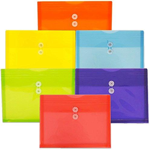 JAM Paper プラスチック冊子封筒 ボタン&ひも留め - レターサイズ&法定サイズ - 1パック封筒12枚 Letter Size